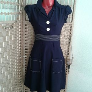 Vintage style navy blue dress